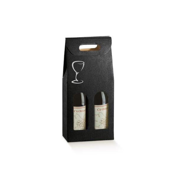 Valisette 2 bouteilles noire avec impression verre argent