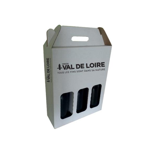 Valisette blanche pour 3 bouteilles marquée Val de Loire