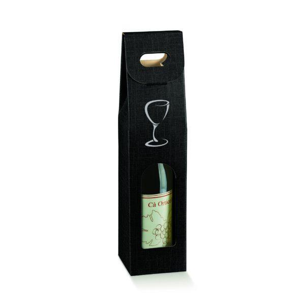 Valisette 1 bouteille noire avec impression verre argent