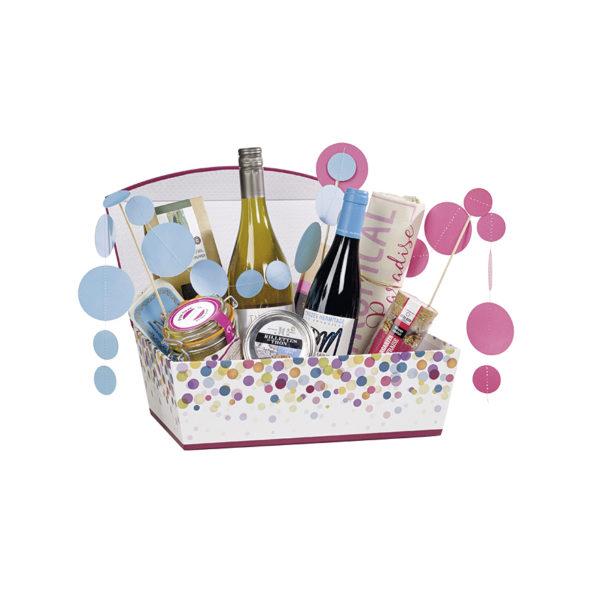 Panier garni dans une boîte bulle aimantée