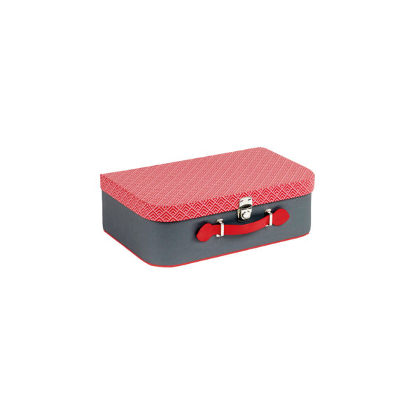 Valise gourmande grise à motifs rouges